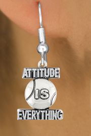 "<bR>                               EXCLUSIVELY OURS!!<BR>                        AN ALLAN ROBIN DESIGN!!<BR>                CLICK HERE TO SEE 600+ EXCITING<BR>                   CHANGES THAT YOU CAN MAKE!<BR>                              LEAD & NICKEL FREE!!<BR>           W1047SE - ""ATTITUDE IS EVERYTHING""<Br>                          TENNIS BALL  EARRING <BR>                                FROM $4.50 TO $8.35 &#169;2011"