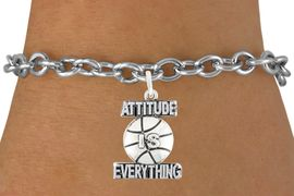 "<bR>                          EXCLUSIVELY OURS!!<BR>                   AN ALLAN ROBIN DESIGN!!<BR>           CLICK HERE TO SEE 600+ EXCITING<BR>              CHANGES THAT YOU CAN MAKE!<BR>                         LEAD & NICKEL FREE!!<BR>      W1048SB - ""ATTITUDE IS EVERYTHING"" <br>                    BASKET BALL BRACELET<br>                FROM $4.15 TO $8.00 ©2011"