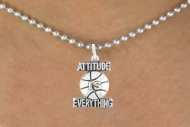 "<bR>                               EXCLUSIVELY OURS!!<BR>                        AN ALLAN ROBIN DESIGN!!<BR>                CLICK HERE TO SEE 600+ EXCITING<BR>                   CHANGES THAT YOU CAN MAKE!<BR>                              LEAD & NICKEL FREE!!<BR>           W1048SN - ""ATTITUDE IS EVERYTHING""<Br>                        BASKETBALL NECKLACE <BR>                    FROM $4.50 TO $8.35 &#169;2011"