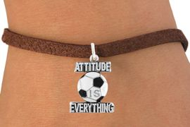 """<bR>                               EXCLUSIVELY OURS!!<BR>                        AN ALLAN ROBIN DESIGN!!<BR>                CLICK HERE TO SEE 600+ EXCITING<BR>                   CHANGES THAT YOU CAN MAKE!<BR>                              LEAD & NICKEL FREE!!<BR>           W1049SB - """"ATTITUDE IS EVERYTHING""""<Br>SOCCER BALL BRACELET FROM $4.50 TO $8.35 &#169;2011"""