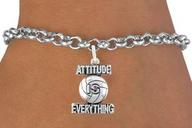 """<bR>                                 EXCLUSIVELY OURS!!<BR>                           AN ALLAN ROBIN DESIGN!!<BR>                  CLICK HERE TO SEE 600+ EXCITING<BR>                     CHANGES THAT YOU CAN MAKE!<BR>                                LEAD & NICKEL FREE!!<BR>              W1050SB - """"ATTITUDE IS EVERYTHING"""" <Br>VOLLEYBALL BRACELET FROM $4.50 TO $8.35 &#169;2011"""