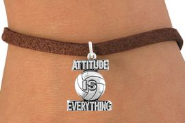 """<bR>                                 EXCLUSIVELY OURS!!<BR>                           AN ALLAN ROBIN DESIGN!!<BR>                  CLICK HERE TO SEE 600+ EXCITING<BR>                     CHANGES THAT YOU CAN MAKE!<BR>                                LEAD & NICKEL FREE!!<BR>              W1050SB - """"ATTITUDE IS EVERYTHING"""" <Br>VOLLEYBALL BRACELET FROM $4.15 TO $8.00 &#169;2011"""