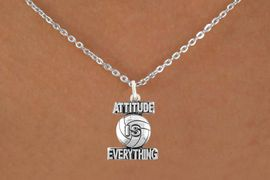 """<bR>                            EXCLUSIVELY OURS!!<BR>                      AN ALLAN ROBIN DESIGN!!<BR>             CLICK HERE TO SEE 600+ EXCITING<BR>                CHANGES THAT YOU CAN MAKE!<BR>                           LEAD & NICKEL FREE!!<BR>           W1050SN - """"ATTITUDE IS EVERYTHING""""<Br>VOLLEYBALL NECKLACE FROM $4.50 TO $8.35 �2011"""