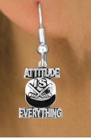 "<bR>                         EXCLUSIVELY OURS!!<BR>                   AN ALLAN ROBIN DESIGN!!<BR>           CLICK HERE TO SEE 600+ EXCITING<BR>             CHANGES THAT YOU CAN MAKE!<BR>                         LEAD & NICKEL FREE!!<BR>    W1051SE - ""ATTITUDE IS EVERYTHING""<Br>HOCKEY EARRINGS FROM $4.50 TO $8.35 &#169;2011"