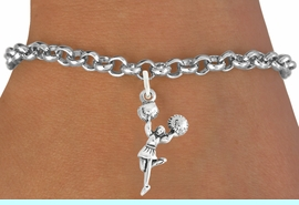 """<bR>                    EXCLUSIVELY OURS!!<BR>              AN ALLAN ROBIN DESIGN!!<BR>     CLICK HERE TO SEE 600+ EXCITING<BR>        CHANGES THAT YOU CAN MAKE!<BR>                   LEAD & NICKEL FREE!!<BR>             W1054SB - """"CHEERLEADER""""<Br>BRACELET FROM $4.15 TO $8.00 �2011"""