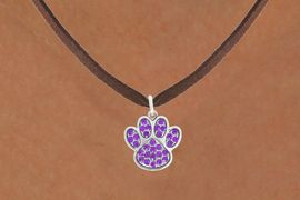 <bR>                            EXCLUSIVELY OURS!!<BR>                      AN ALLAN ROBIN DESIGN!!<BR>             CLICK HERE TO SEE 600+ EXCITING<BR>                CHANGES THAT YOU CAN MAKE!<BR>                           LEAD & NICKEL FREE!!<BR>            W1058SN - PURPLE PAW  NECKLACE <br>                   FROM $5.55 TO $9.00 �2011
