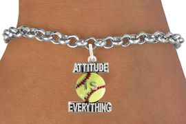 "<bR>                               EXCLUSIVELY OURS!!<BR>                        AN ALLAN ROBIN DESIGN!!<BR>                CLICK HERE TO SEE 600+ EXCITING<BR>                   CHANGES THAT YOU CAN MAKE!<BR>                              LEAD & NICKEL FREE!!<BR>           W1062SB - ""ATTITUDE IS EVERYTHING""<Br>  SOFTBALL BRACELET FROM $4.50 TO $8.35 &#169;2011"