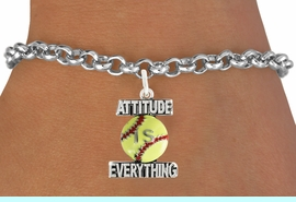 """<bR>                               EXCLUSIVELY OURS!!<BR>                        AN ALLAN ROBIN DESIGN!!<BR>                CLICK HERE TO SEE 600+ EXCITING<BR>                   CHANGES THAT YOU CAN MAKE!<BR>                              LEAD & NICKEL FREE!!<BR>           W1062SB - """"ATTITUDE IS EVERYTHING""""<Br>  SOFTBALL BRACELET FROM $4.50 TO $8.35 &#169;2011"""
