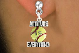 "<bR>                            EXCLUSIVELY OURS!!<BR>                      AN ALLAN ROBIN DESIGN!!<BR>             CLICK HERE TO SEE 600+ EXCITING<BR>                CHANGES THAT YOU CAN MAKE!<BR>                           LEAD & NICKEL FREE!!<BR>         W1062SE - ""ATTITUDE IS EVERYTHING""<Br>SOFTBALL EARRINGS FROM $4.50 TO $8.35 �2011"