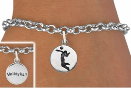 """<bR>                                 EXCLUSIVELY OURS!!<BR>                           AN ALLAN ROBIN DESIGN!!<BR>                  CLICK HERE TO SEE 2000+ EXCITING<BR>                     CHANGES THAT YOU CAN MAKE!<BR>                                LEAD & NICKEL FREE!!<BR>W1070SB - 2 SIDED - """"GIRL SPIKING / VOLLEYBALL""""<Br>             BRACELET FROM $4.15 TO $8.00 &#169;2011"""