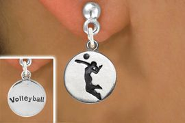 """<bR>                             EXCLUSIVELY OURS!!<BR>                       AN ALLAN ROBIN DESIGN!!<BR>              CLICK HERE TO SEE 600+ EXCITING<BR>                 CHANGES THAT YOU CAN MAKE!<BR>                            LEAD & NICKEL FREE!!<BR>W1070SE - 2 SIDED - """"GIRL SERVING / VOLLEYBALL"""" <Br>          EARRINGS FROM $4.50 TO $8.35 �2011"""