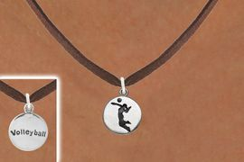 """<bR>                                EXCLUSIVELY OURS!!<BR>                          AN ALLAN ROBIN DESIGN!!<BR>                 CLICK HERE TO SEE 2000+ EXCITING<BR>                    CHANGES THAT YOU CAN MAKE!<BR>                               LEAD & NICKEL FREE!!<BR>W1070SN - 2 SIDED - """"GIRL SPIKING / VOLLEYBALL""""<Br>             NECKLACE FROM $4.50 TO $8.35 �2011"""
