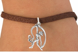 """<bR>                   EXCLUSIVELY OURS!!<BR>             AN ALLAN ROBIN DESIGN!!<BR>    CLICK HERE TO SEE 600+ EXCITING<BR>       CHANGES THAT YOU CAN MAKE!<BR>                  LEAD & NICKEL FREE!!<BR>W1073SB - """"GYMNAST WITH RIBBON""""<Br>       BRACELET FROM $4.15 TO $8.00"""