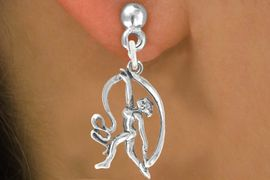 """<bR>                  EXCLUSIVELY OURS!!<BR>            AN ALLAN ROBIN DESIGN!!<BR>   CLICK HERE TO SEE 600+ EXCITING<BR>      CHANGES THAT YOU CAN MAKE!<BR>                 LEAD & NICKEL FREE!!<BR>W1073SE - """"GYMNAST WITH RIBBON""""<Br>      EARRINGS FROM $4.50 TO $8.35"""