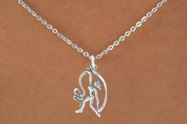 """<bR>                  EXCLUSIVELY OURS!!<BR>            AN ALLAN ROBIN DESIGN!!<BR>   CLICK HERE TO SEE 600+ EXCITING<BR>      CHANGES THAT YOU CAN MAKE!<BR>                 LEAD & NICKEL FREE!!<BR>W1073SN - """"GYMNAST WITH RIBBON""""<Br>     NECKLACE FROM $4.50 TO $8.35"""