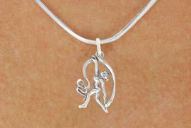 "<bR>                  EXCLUSIVELY OURS!!<BR>            AN ALLAN ROBIN DESIGN!!<BR>   CLICK HERE TO SEE 600+ EXCITING<BR>      CHANGES THAT YOU CAN MAKE!<BR>                 LEAD & NICKEL FREE!!<BR>W1073SN - ""GYMNAST WITH RIBBON""<Br>     NECKLACE FROM $4.50 TO $8.35"
