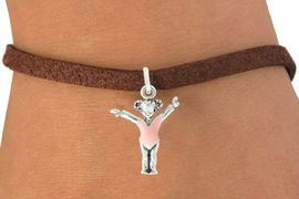 """<bR>               EXCLUSIVELY OURS!!<BR>         AN ALLAN ROBIN DESIGN!!<BR>CLICK HERE TO SEE 600+ EXCITING<BR>   CHANGES THAT YOU CAN MAKE!<BR>              LEAD & NICKEL FREE!!<BR>W1074SB - """"LITTLE GIRL GYMNAST""""<Br>   BRACELET FROM $4.15 TO $8.00"""