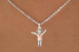 """<bR>                  EXCLUSIVELY OURS!!<BR>            AN ALLAN ROBIN DESIGN!!<BR>   CLICK HERE TO SEE 600+ EXCITING<BR>      CHANGES THAT YOU CAN MAKE!<BR>                 LEAD & NICKEL FREE!!<BR>   W1074SN - """"LITTLE GIRL GYMNAST""""<Br>     NECKLACE FROM $4.50 TO $8.35"""