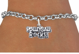 """<bR>                      EXCLUSIVELY OURS!!<BR>                AN ALLAN ROBIN DESIGN!!<BR>       CLICK HERE TO SEE 600+ EXCITING<BR>          CHANGES THAT YOU CAN MAKE!<BR>                     LEAD & NICKEL FREE!!<BR>W1093SB - """"VOLLEYBALL ROCKS"""" CHARM<Br> & BRACELET FROM $4.15 TO $8.00 ©2011"""