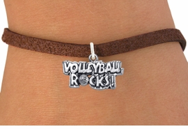 """<bR>                      EXCLUSIVELY OURS!!<BR>                AN ALLAN ROBIN DESIGN!!<BR>       CLICK HERE TO SEE 600+ EXCITING<BR>          CHANGES THAT YOU CAN MAKE!<BR>                     LEAD & NICKEL FREE!!<BR>W1093SB - """"VOLLEYBALL ROCKS"""" CHARM<Br> & BRACELET FROM $4.15 TO $8.00 &#169;2011"""