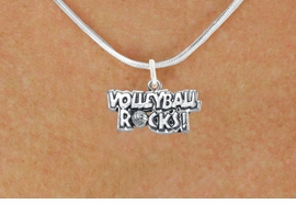"""<bR>                      EXCLUSIVELY OURS!!<BR>                AN ALLAN ROBIN DESIGN!!<BR>       CLICK HERE TO SEE 600+ EXCITING<BR>          CHANGES THAT YOU CAN MAKE!<BR>                     LEAD & NICKEL FREE!!<BR>W1093SN - """"VOLLEYBALL ROCKS"""" CHARM<Br> & NECKLACE FROM $4.50 TO $8.35 �2011"""