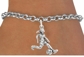 "<bR>                              EXCLUSIVELY OURS!!<BR>                        AN ALLAN ROBIN DESIGN!!<BR>               CLICK HERE TO SEE 600+ EXCITING<BR>                  CHANGES THAT YOU CAN MAKE!<BR>                             LEAD & NICKEL FREE!!<BR>              W1097SB - ""SOCCER GIRL"" CHARM<Br>         & BRACELET FROM $4.15 TO $8.00 &#169;2011"