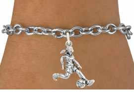 """<bR>                              EXCLUSIVELY OURS!!<BR>                        AN ALLAN ROBIN DESIGN!!<BR>               CLICK HERE TO SEE 600+ EXCITING<BR>                  CHANGES THAT YOU CAN MAKE!<BR>                             LEAD & NICKEL FREE!!<BR>              W1097SB - """"SOCCER GIRL"""" CHARM<Br>         & BRACELET FROM $4.15 TO $8.00 &#169;2011"""