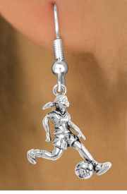 """<bR>                             EXCLUSIVELY OURS!!<BR>                       AN ALLAN ROBIN DESIGN!!<BR>              CLICK HERE TO SEE 600+ EXCITING<BR>                 CHANGES THAT YOU CAN MAKE!<BR>                            LEAD & NICKEL FREE!!<BR>              W1097SE - """"SOCCER GIRL"""" CHARM<Br>          EARRINGS FROM $4.50 TO $8.35 �2011"""