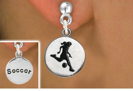 """<bR>                             EXCLUSIVELY OURS!!<BR>                       AN ALLAN ROBIN DESIGN!!<BR>              CLICK HERE TO SEE 600+ EXCITING<BR>                 CHANGES THAT YOU CAN MAKE!<BR>                            LEAD & NICKEL FREE!!<BR>W1098SE - 2 SIDED """"GIRL KICKING BALL / SOCCER""""<Br>    CHARM EARRINGS FROM $4.50 TO $8.35 �2011"""