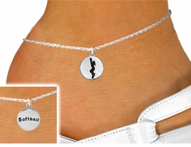 """<bR>                               EXCLUSIVELY OURS!!<BR>                            AN ALLAN ROBIN DESIGN!!<BR>                   CLICK HERE TO SEE 600+ EXCITING<BR>                      CHANGES THAT YOU CAN MAKE!<BR>                                 LEAD & NICKEL FREE!!<BR>W1099SAK - 2 SIDED """"GIRL CATCHING BALL / SOFTBALL""""<Br>     CHARM & ANKLET FROM $3.35 TO $8.00 �2011"""