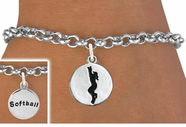 "<bR>                                 EXCLUSIVELY OURS!!<BR>                           AN ALLAN ROBIN DESIGN!!<BR>                  CLICK HERE TO SEE 600+ EXCITING<BR>                     CHANGES THAT YOU CAN MAKE!<BR>                                LEAD & NICKEL FREE!!<BR>W1099SB - 2 SIDED ""GIRL CATCHING BALL / SOFTBALL""<Br>       CHARM & BRACELET FROM $4.15 TO $8.00 &#169;2011"