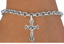 """<bR>                   EXCLUSIVELY OURS!!<BR>             AN ALLAN ROBIN DESIGN!!<BR>    CLICK HERE TO SEE 600+ EXCITING<BR>       CHANGES THAT YOU CAN MAKE!<BR>                  LEAD & NICKEL FREE!!<BR>      W1101SB - """"CRUCIFIX"""" CHARM &<Br>BRACELET FROM $4.15 TO $8.00 �2011"""