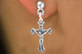 "<bR>                   EXCLUSIVELY OURS!!<BR>             AN ALLAN ROBIN DESIGN!!<BR>    CLICK HERE TO SEE 600+ EXCITING<BR>       CHANGES THAT YOU CAN MAKE!<BR>                  LEAD & NICKEL FREE!!<BR>        W1101SE - ""CRUCIFIX"" CHARM<Br>EARRINGS FROM $4.50 TO $8.35 �2011"