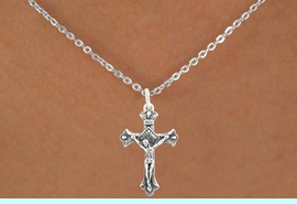 """<bR>                   EXCLUSIVELY OURS!!<BR>             AN ALLAN ROBIN DESIGN!!<BR>    CLICK HERE TO SEE 600+ EXCITING<BR>       CHANGES THAT YOU CAN MAKE!<BR>                  LEAD & NICKEL FREE!!<BR>     W1101SN - """"CRUCIFIX"""" CHARM &<Br>NECKLACE FROM $4.50 TO $8.35 �2011"""