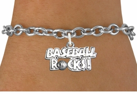 "<bR>                      EXCLUSIVELY OURS!!<BR>                AN ALLAN ROBIN DESIGN!!<BR>       CLICK HERE TO SEE 600+ EXCITING<BR>          CHANGES THAT YOU CAN MAKE!<BR>                     LEAD & NICKEL FREE!!<BR>    W1102SB - ""BASEBALL ROCKS"" CHARM & <Br>     BRACELET FROM $4.15 TO $8.00 �2011"