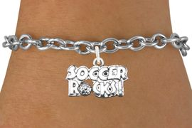 """<bR>                      EXCLUSIVELY OURS!!<BR>                AN ALLAN ROBIN DESIGN!!<BR>       CLICK HERE TO SEE 600+ EXCITING<BR>          CHANGES THAT YOU CAN MAKE!<BR>                     LEAD & NICKEL FREE!!<BR>     W1103SB - """"SOCCER ROCKS"""" CHARM<Br> & BRACELET FROM $4.15 TO $8.00 &#169;2011"""