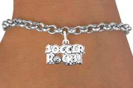 """<bR>                      EXCLUSIVELY OURS!!<BR>                AN ALLAN ROBIN DESIGN!!<BR>       CLICK HERE TO SEE 1600+ EXCITING<BR>          CHANGES THAT YOU CAN MAKE!<BR>         LEAD, CADMIUM, & NICKEL FREE!!<BR>     W1103SB - """"SOCCER ROCKS"""" CHARM<Br> & BRACELET FROM $4.15 TO $8.00 &#169;2011"""