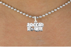 """<bR>                      EXCLUSIVELY OURS!!<BR>                AN ALLAN ROBIN DESIGN!!<BR>       CLICK HERE TO SEE 600+ EXCITING<BR>          CHANGES THAT YOU CAN MAKE!<BR>                     LEAD & NICKEL FREE!!<BR>     W1103SN - """"SOCCER ROCKS"""" CHARM<Br> & NECKLACE FROM $4.50 TO $8.35 �2011"""