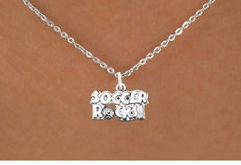 "<bR>                      EXCLUSIVELY OURS!!<BR>                AN ALLAN ROBIN DESIGN!!<BR>       CLICK HERE TO SEE 600+ EXCITING<BR>          CHANGES THAT YOU CAN MAKE!<BR>                     LEAD & NICKEL FREE!!<BR>     W1103SN - ""SOCCER ROCKS"" CHARM<Br> & NECKLACE FROM $4.50 TO $8.35 �2011"