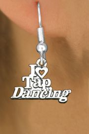 """<bR>                   EXCLUSIVELY OURS!!<BR>             AN ALLAN ROBIN DESIGN!!<BR>    CLICK HERE TO SEE 600+ EXCITING<BR>       CHANGES THAT YOU CAN MAKE!<BR>                  LEAD & NICKEL FREE!!<BR> W1106SE - """"I HEART TAP DANCING""""<Br>EARRINGS FROM $4.50 TO $8.35 �2011"""