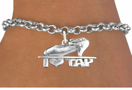 "<bR>                      EXCLUSIVELY OURS!!<BR>                AN ALLAN ROBIN DESIGN!!<BR>       CLICK HERE TO SEE 600+ EXCITING<BR>          CHANGES THAT YOU CAN MAKE!<BR>                     LEAD & NICKEL FREE!!<BR>       W1108SB - ""I HEART TAP"" CHARM & <Br>     BRACELET FROM $4.15 TO $8.00 �2011"