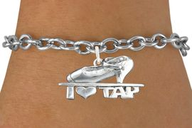 """<bR>                      EXCLUSIVELY OURS!!<BR>                AN ALLAN ROBIN DESIGN!!<BR>       CLICK HERE TO SEE 600+ EXCITING<BR>          CHANGES THAT YOU CAN MAKE!<BR>                     LEAD & NICKEL FREE!!<BR>       W1108SB - """"I HEART TAP"""" CHARM & <Br>     BRACELET FROM $4.15 TO $8.00 �2011"""