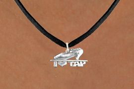 """<bR>                      EXCLUSIVELY OURS!!<BR>                AN ALLAN ROBIN DESIGN!!<BR>       CLICK HERE TO SEE 600+ EXCITING<BR>          CHANGES THAT YOU CAN MAKE!<BR>                     LEAD & NICKEL FREE!!<BR>   W1108SN - """"I HEART TAP"""" CHARM & <Br>    NECKLACE FROM $4.50 TO $8.35 �2011"""