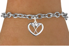 "<bR>                      EXCLUSIVELY OURS!!<BR>                AN ALLAN ROBIN DESIGN!!<BR>       CLICK HERE TO SEE 600+ EXCITING<BR>          CHANGES THAT YOU CAN MAKE!<BR>                     LEAD & NICKEL FREE!!<BR>W1113SB - ""CROSSED LACROSSE STICKS IN HEART"" <Br>     CHARM &  BRACELET FROM $4.15 TO $8.00 �2011"
