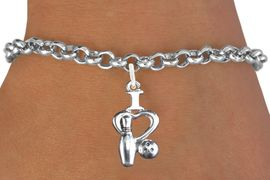 """<bR>                      EXCLUSIVELY OURS!!<BR>                AN ALLAN ROBIN DESIGN!!<BR>       CLICK HERE TO SEE 600+ EXCITING<BR>          CHANGES THAT YOU CAN MAKE!<BR>                     LEAD & NICKEL FREE!!<BR>    W1114SB - """"I LOVE BOWLING"""" CHARM & <Br>     BRACELET FROM $4.15 TO $8.00 �2011"""