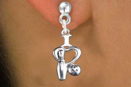 """<bR>                   EXCLUSIVELY OURS!!<BR>             AN ALLAN ROBIN DESIGN!!<BR>    CLICK HERE TO SEE 600+ EXCITING<BR>       CHANGES THAT YOU CAN MAKE!<BR>                  LEAD & NICKEL FREE!!<BR>W1114SE - """"I LOVE BOWLING"""" CHARM<Br>EARRINGS FROM $4.50 TO $8.35 �2011"""