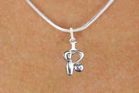 """<bR>                      EXCLUSIVELY OURS!!<BR>                AN ALLAN ROBIN DESIGN!!<BR>       CLICK HERE TO SEE 600+ EXCITING<BR>          CHANGES THAT YOU CAN MAKE!<BR>                     LEAD & NICKEL FREE!!<BR>  W1114SN - """"I LOVE BOWLING"""" CHARM & <Br>    NECKLACE FROM $4.50 TO $8.35 �2011"""