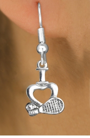 """<bR>                   EXCLUSIVELY OURS!!<BR>             AN ALLAN ROBIN DESIGN!!<BR>    CLICK HERE TO SEE 600+ EXCITING<BR>       CHANGES THAT YOU CAN MAKE!<BR>                  LEAD & NICKEL FREE!!<BR>   W1115SE - """"I LOVE TENNIS"""" CHARM<Br>EARRINGS FROM $4.50 TO $8.35 �2011"""
