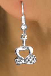 "<bR>                   EXCLUSIVELY OURS!!<BR>             AN ALLAN ROBIN DESIGN!!<BR>    CLICK HERE TO SEE 600+ EXCITING<BR>       CHANGES THAT YOU CAN MAKE!<BR>                  LEAD & NICKEL FREE!!<BR>   W1115SE - ""I LOVE TENNIS"" CHARM<Br>EARRINGS FROM $4.50 TO $8.35 �2011"