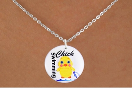 "<bR>                              EXCLUSIVELY OURS!!<BR>                        AN ALLAN ROBIN DESIGN!!<BR>               CLICK HERE TO SEE 600+ EXCITING<BR>                  CHANGES THAT YOU CAN MAKE!<BR>                             LEAD & NICKEL FREE!!<BR>        W1124SN - ""SWIMMING CHICK"" CHARM<Br>        & NECKLACE FROM $4.50 TO $8.35 �2011"